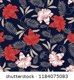 flower pattern on navy | Shutterstock .eps vector #1184075083