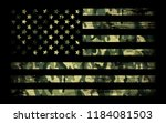 american flag with camouflage ... | Shutterstock .eps vector #1184081503