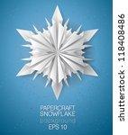 Unique 3D origami/paper folded snowflake card - vector illustration.