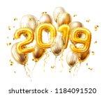 vector realistic 2019 golden... | Shutterstock .eps vector #1184091520