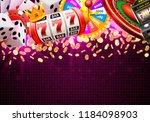 casino dice banner signboard on ... | Shutterstock .eps vector #1184098903