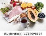 health  food to boost immune... | Shutterstock . vector #1184098939