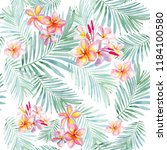 watercolor tropical flowers and ... | Shutterstock . vector #1184100580