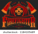 vintage fireman logo colorful... | Shutterstock .eps vector #1184105689