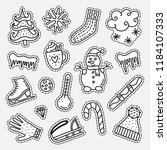 set of uncolored stickers or... | Shutterstock .eps vector #1184107333