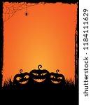 grunge vertical halloween card... | Shutterstock . vector #1184111629