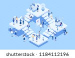 isometric coworking office... | Shutterstock .eps vector #1184112196