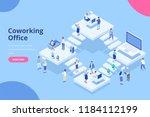 isometric coworking office...   Shutterstock .eps vector #1184112199