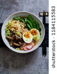 vegetarian ramen with shiitake... | Shutterstock . vector #1184115583