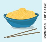 a bowl of noodles with two... | Shutterstock .eps vector #1184116150
