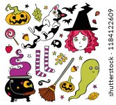halloween set. witch  ghost ... | Shutterstock .eps vector #1184122609