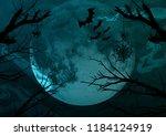 halloween background. full moon ... | Shutterstock . vector #1184124919