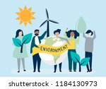 people with environmental... | Shutterstock .eps vector #1184130973