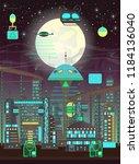 futuristic  night city set in...   Shutterstock .eps vector #1184136040