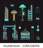 futuristic  night city set in... | Shutterstock .eps vector #1184136046