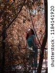portrait young brunette woman... | Shutterstock . vector #1184141920