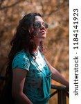 portrait young brunette woman... | Shutterstock . vector #1184141923