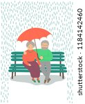 sweet senior couple with an... | Shutterstock .eps vector #1184142460