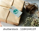 present box with a green globe... | Shutterstock . vector #1184144119