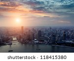 pudong skyline at sunset ... | Shutterstock . vector #118415380