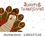 thanksgiving greeting card with ... | Shutterstock .eps vector #1184157133