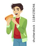 illustration of a teenage guy... | Shutterstock .eps vector #1184158246