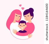 gay couple with kid  happy... | Shutterstock .eps vector #1184164600