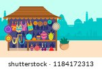 souvenir street store with city ... | Shutterstock .eps vector #1184172313