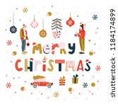 christmas greeting card with... | Shutterstock .eps vector #1184174899