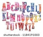 alphabet. set of letters. ... | Shutterstock .eps vector #1184191003