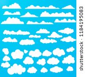 white clouds. vector collection | Shutterstock .eps vector #1184195083