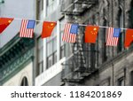 flags of usa and china hanging... | Shutterstock . vector #1184201869