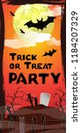 trick or treat party lettering. ... | Shutterstock .eps vector #1184207329