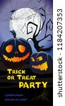 trick or treat party lettering. ... | Shutterstock .eps vector #1184207353