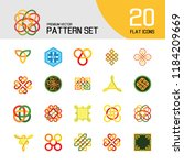 pattern icon set. hexagon... | Shutterstock .eps vector #1184209669