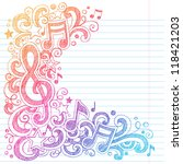 music notes g clef vector  back ... | Shutterstock .eps vector #118421203