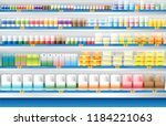 dairy products for sale display ... | Shutterstock .eps vector #1184221063