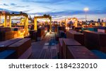 container ship in export and... | Shutterstock . vector #1184232010