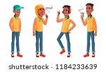 teen boy poses set vector.... | Shutterstock .eps vector #1184233639