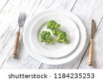 fresh broccoli on the white... | Shutterstock . vector #1184235253