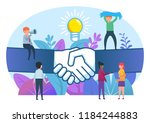 small people standing near big... | Shutterstock .eps vector #1184244883