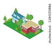 house residences isometric   Shutterstock .eps vector #1184253886