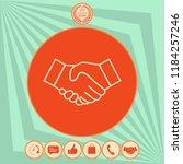 handshake line icon | Shutterstock .eps vector #1184257246