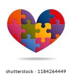jigsaw puzzle background with... | Shutterstock .eps vector #1184264449