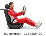 racer sitting in a car wheel... | Shutterstock . vector #1184265430