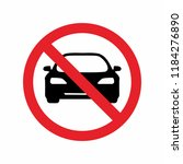 no cars allowed prohibition... | Shutterstock .eps vector #1184276890