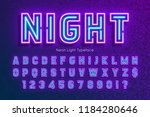 neon light alphabet  extra... | Shutterstock .eps vector #1184280646