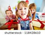 joyful girl looking at camera... | Shutterstock . vector #118428610