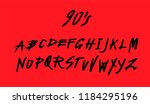 brush handwritten font inspired ... | Shutterstock .eps vector #1184295196