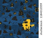 Stock vector halloween holiday seamless pattern flat design vector illustration 1184313559